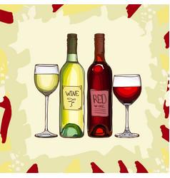 wine set sketch hand drawn alcoholic vector image