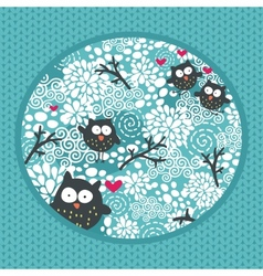 Winter pattern with owls and snow vector image