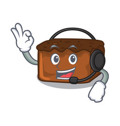 With headphone brownies mascot cartoon style vector