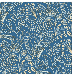 Yellow floral seamless pattern on blue background vector