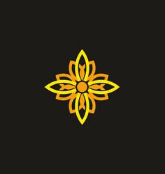 yellow orange ornament flower vector image