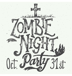 Zombie night party hand-lettering vector image