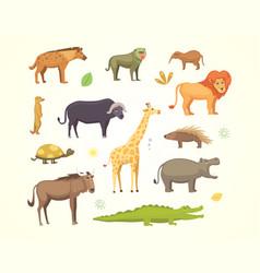 African animals cartoon set elephant vector