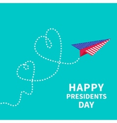 Presidents Day background Paper plane Two dash vector image