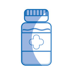 Silhouette bottle pills treatment and healthy vector