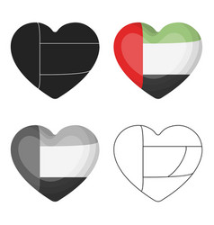 united arab emirates heart icon in cartoon style vector image