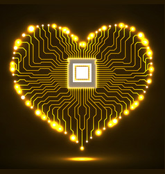 Abstract neon electronic circuit board in shape of vector