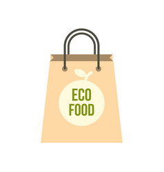 eco food paper bag icon flat style vector image