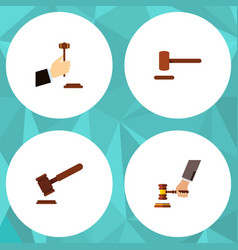 flat icon hammer set of justice law crime and vector image vector image