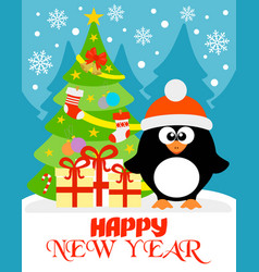 happy new year card with funny penguin vector image vector image