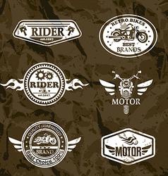 motorcycle vintage labels set of emblems vector image