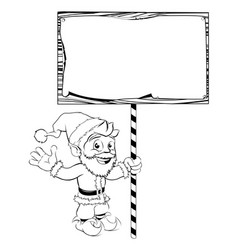 santa claus holding sign vector image vector image