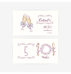 Set of hand wedding card templates vector image vector image