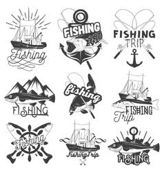 set of monochrome fishing trip emblems vector image