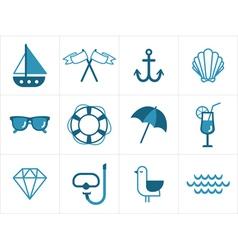 Summer sea icons vector