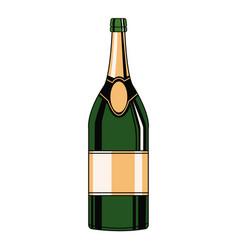 champagne bottle pop art vector image vector image