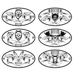 fishing and hunting grunge vintage labels set vector image