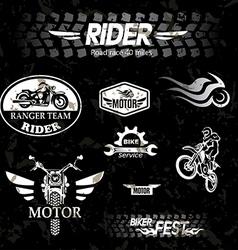 Motorcycle vintage labels set of emblems vector