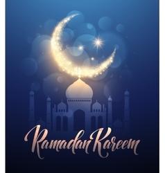 Ramadan Kareem greeting lettering card with moon vector image