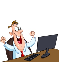 happy man with computer vector image