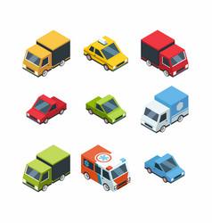set of isometric cartoon-style city cars vector image