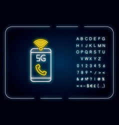 5g mobile network neon light icon improved vector