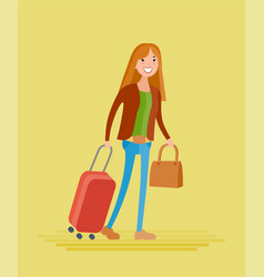A young girl goes on a journey vector