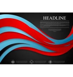 Abstract blue red corporate wavy background vector