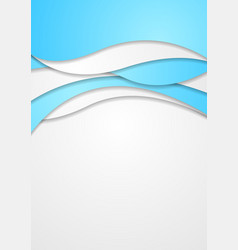 Abstract bright blue corporate wavy flyer design vector