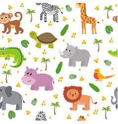 african animals seamless pattern cute cartoon vector image