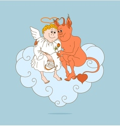 Angel and devil are friends Valentines Day vector image