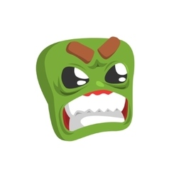 Angry Green Emoji Cartoon Square Funny Emotional vector image vector image