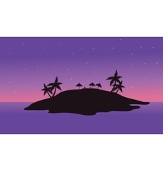 At night islands scenery silhouette vector image