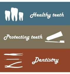 Background or banner teeth dental instruments vector image