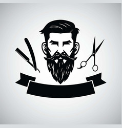 Barbershop logo template with hipster head vector