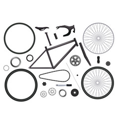 Bicycle replacement parts set vector
