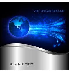 Binary code flowing behind globe vector