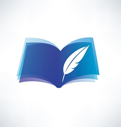 Book and feather isolated symbol vector