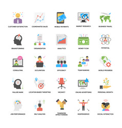 Business management and growth flat icons set vector