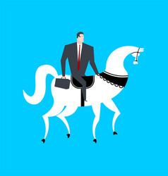 businessman on horseback boss is rider vector image