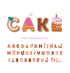 Cake cartoon font cute sweet letters and numbers vector