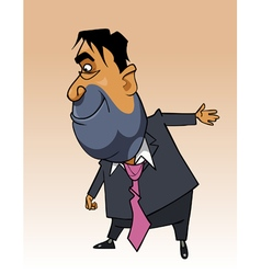 cartoon man in a suit shows a hand toward vector image