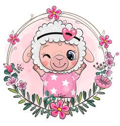 Cartoon sheep girl with a floral wreath vector