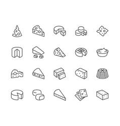 Cheese flat line icons set parmesan mozzarella vector