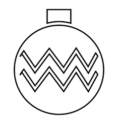 Christmas ball icon outline style vector image