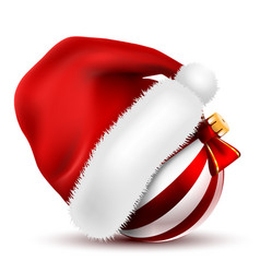 christmas ball santa claus hat with fur on white vector image