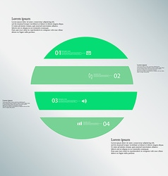 Circle horizontaly divided to four green parts on vector