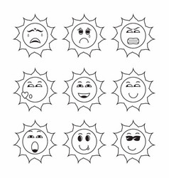 Collection various sun expressions contains vector