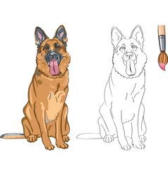 Coloring Book of smiling dog German shepherd vector