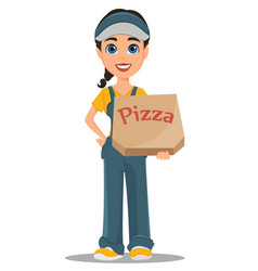 courier woman holding box with tasty hot pizza vector image